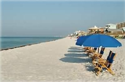 Beach at Mainsail. Rental includes Beach rental of (1) umbrella and (2) Chairs
