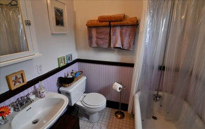 Redondo Beach cottage rental - enjoy a memorable soak in our originally clawfoot bath….