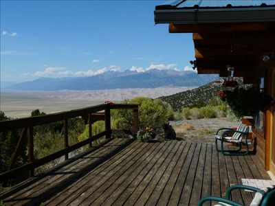 Cabin, front deck, and Sand Dunes Views