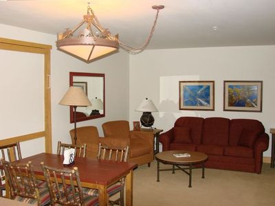 Dining Area, Queen Murphy Bed, and Living Room