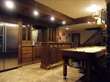 Custom Wet Bar, with Refrigerator, Shuffle Board