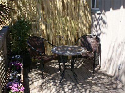 Relax for coffee or dine in garden setting