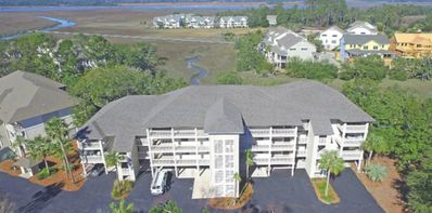 Aerial view of villa and marsh