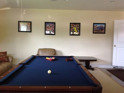 "Game Room with Pool Table and 60"" Flat Screen TV"