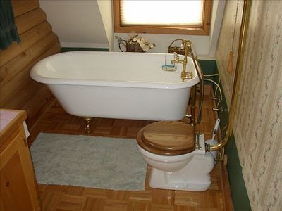 Ball and Claw Tub and Pull Chain Toilet - Upstairs Bath - Dancing Bear Cabin