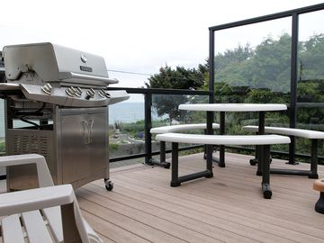 BBQ Grill & Patio Table.