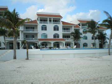 Exterior of 21 unit building, approaching from beach