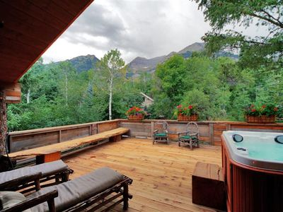 Sundance cabin rental - Huge deck with luxurious hot tub and stunning views of Mt. Timpanogos.