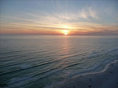 Beautiful view from the balcony of the gulf and Sunset