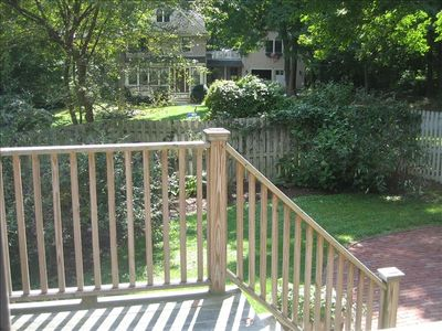 Newport house rental - Deck off Dining Room and Courtyard with patio. Perfect spot for gathering.