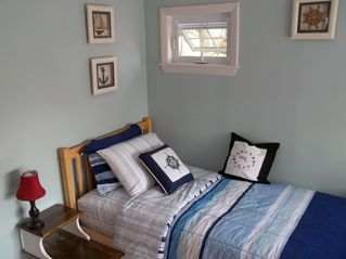 Nautical Bedroom, two twin beds in this room - Buttermilk Bay cottage vacation rental photo