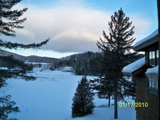 "Lake Placid property rental photo - View from deck of Condo ""G"" in January of 2010."