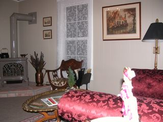 Durango farmhouse photo - Cozy living room with gas stove and satellite TV