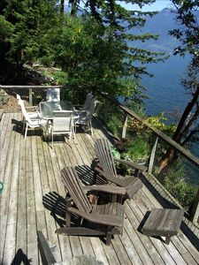 Large South facing Sunny Waterfront deck w/ dining for 6 plus Propane BBQ.