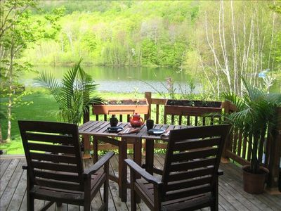 Enjoy the lake and mountain view from the the deck
