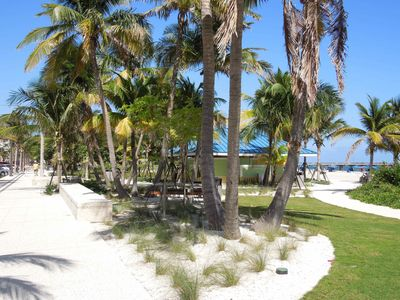 Beautiful beachfront has natural plantings, lovely walkways and bike path.
