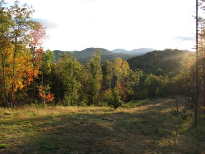 Keene cabin rental - The view from the deck. That's Giant Mountain and other high peaks.