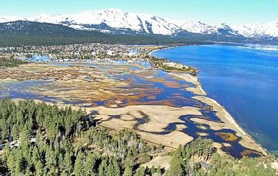Aerial view of the estate, bordered by Lake Tahoe,Meadow and Forest Service Land