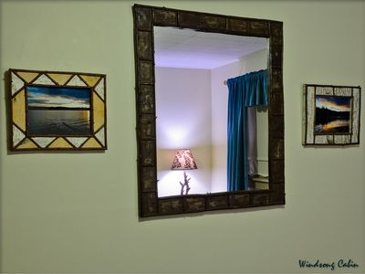 Lake Placid house rental - Placid Waters Bedroom ~ Birch Bark & Twig Mirror
