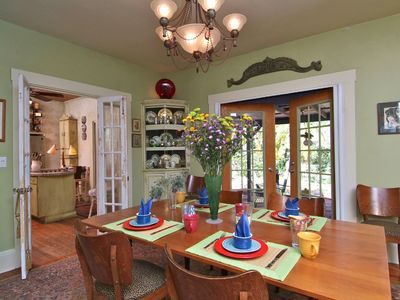 kitchen dining french doors to garden