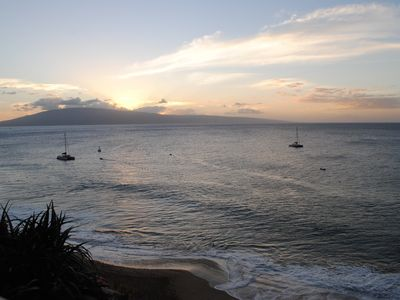 The beautiful sunset from our condo's lanai.