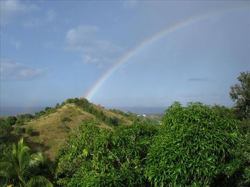 ocean, mountains & rainbow from terrace