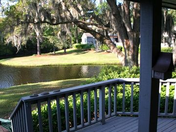 Sea Pines villa rental - Great oak, lake and forest preserve from the rear deck