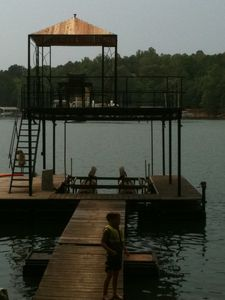 Fun on Dock with New Shade Pavilion!