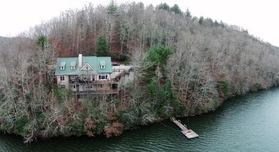 A picture of the house taken from the middle of the lake (thanks to the Drone)