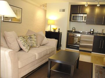 Capitol Hill townhome rental - The sofa is a queen size sleeper