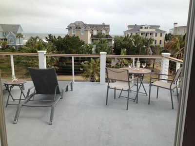 New large outdoor deck off of the master BR with amazing ocean breezes and views