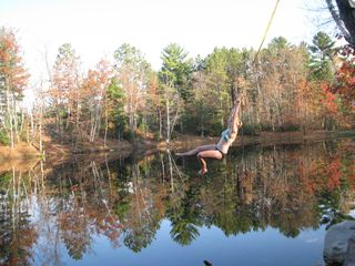 Hayward house photo - Rope Swing at Dam -- near boat landing. Fall colors reflected in water!