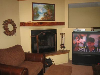 Family Room With Fireplace & Big Screen on 2nd Level