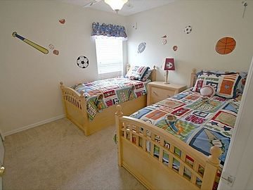 Upstairs Boys Twin Bedroom with Ceiling Fan