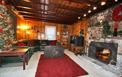 Large Open Living Room with 1949 Native Rock Fireplace