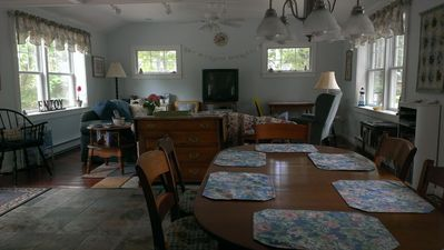 Spacious, open living and dining area.