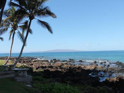 Looking across the Kihei Surfside tide pools towards Molokini and Kahoolawe