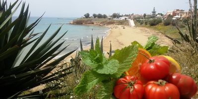 Beach and Sea at 100 metric Elegant Apartment with Sea View, soft beach.