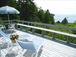 West Tremont cottage photo - Relax on Our Sun Drenched Deck with a Good Book