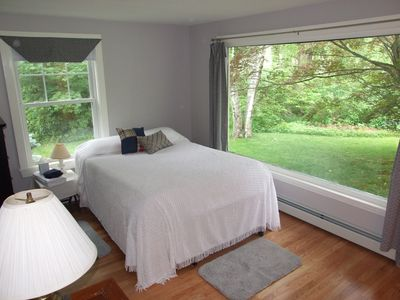 Kennebunkport house rental - New first floor bedroom adjoins living room with fireplace for private suite