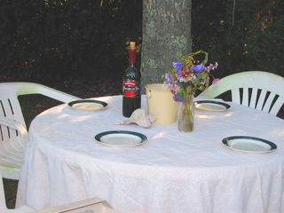 Mashpee house photo - Dine in the backyard-this table seats 4