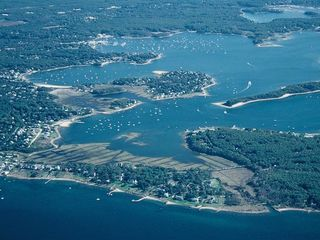 Pocasset house photo - View of harbor, Basset's Island, and property on Wings Neck on right
