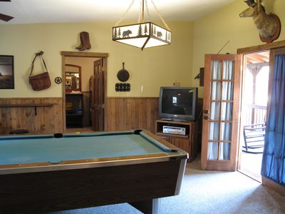 Bunkhouse Game Room with Pool Table, TV, DVD, and Guest Loading Coke Machine