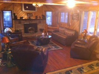 Chazy Lake house photo - Living Room with Fireplace, and Big Screen T.V. hanging on Wall above fireplace