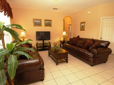 Windsor Hills villa rental - Family Room with brand new sofa and large LCD TV