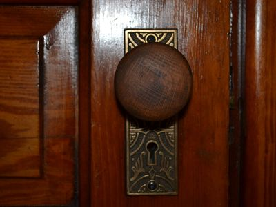 Cincinnati house rental - antique wood doorknobs and brass plates