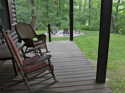 Relax in the porch rocking chairs. Watch hummingbirds and chipmunks come to feed