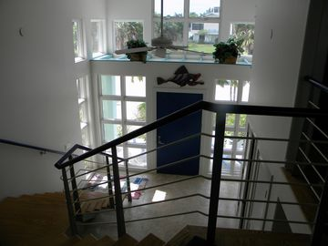 View from living area to front door