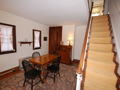 Dining room: with view of stairs to the second floor