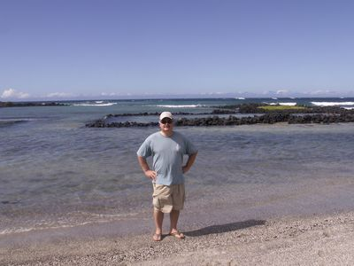 Kailua Kona condo rental - Larry, your host. I enjoy this seculded beach not far from the condo.